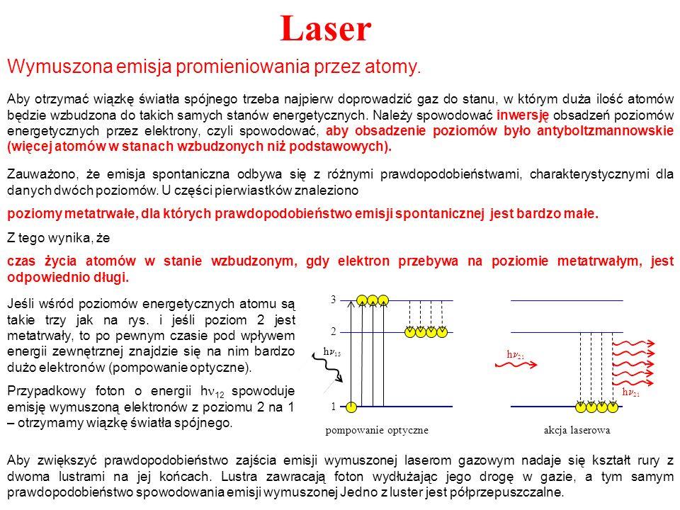 Laser Wymuszona emisja promieniowania przez atomy. Aby otrzymać wiązkę światła spójnego trzeba najpierw doprowadzić gaz do stanu, w którym duża ilość