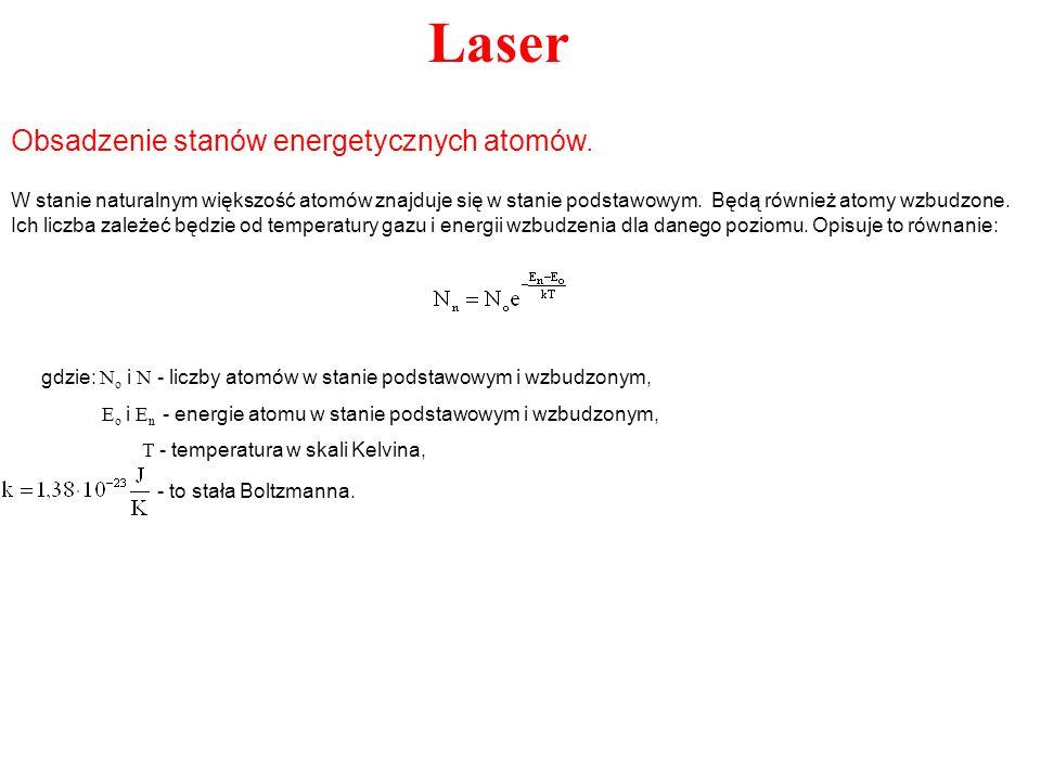 Laser Niech w chwili t w stanie wzbudzonym znajduje się N atomów.