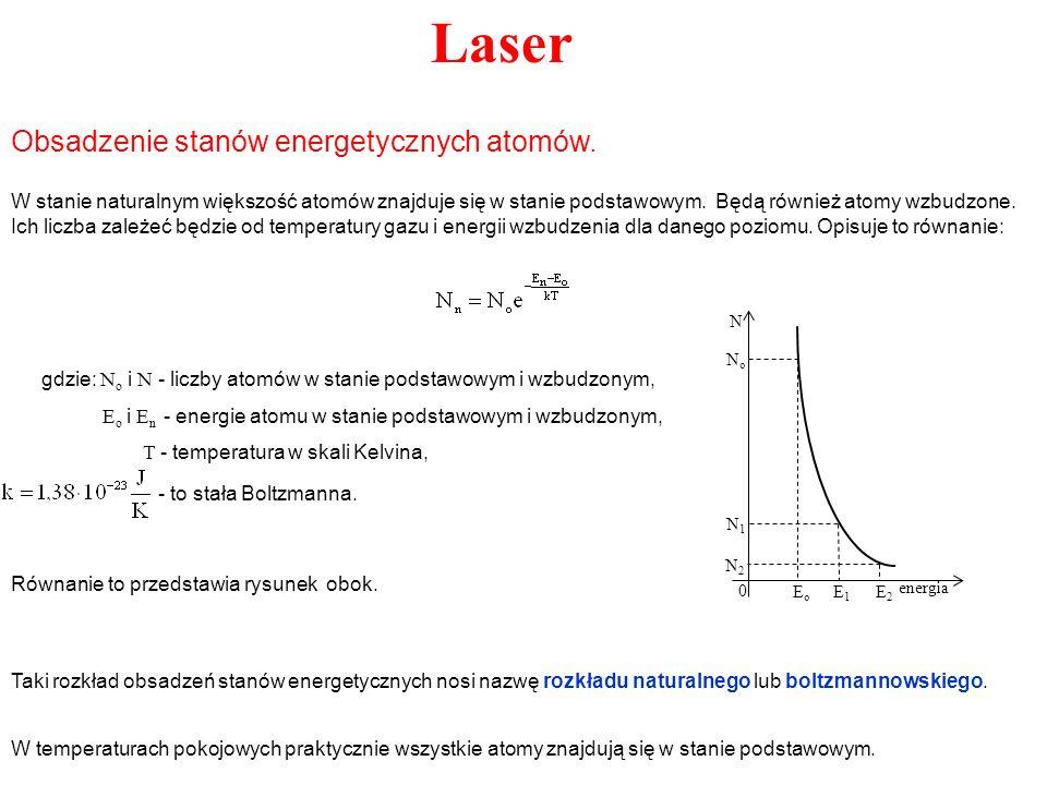 Laser W stanie naturalnym większość atomów znajduje się w stanie podstawowym. Będą również atomy wzbudzone. Ich liczba zależeć będzie od temperatury g