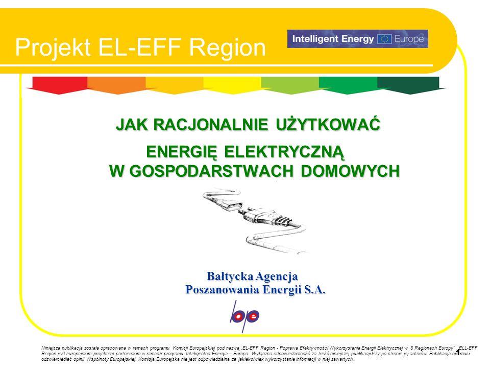 1 Projekt EL-EFF Region JAK RACJONALNIE UŻYTKOWAĆ ENERGIĘ ELEKTRYCZNĄ W GOSPODARSTWACH DOMOWYCH Bałtycka Agencja Poszanowania Energii S.A. Bałtycka Ag