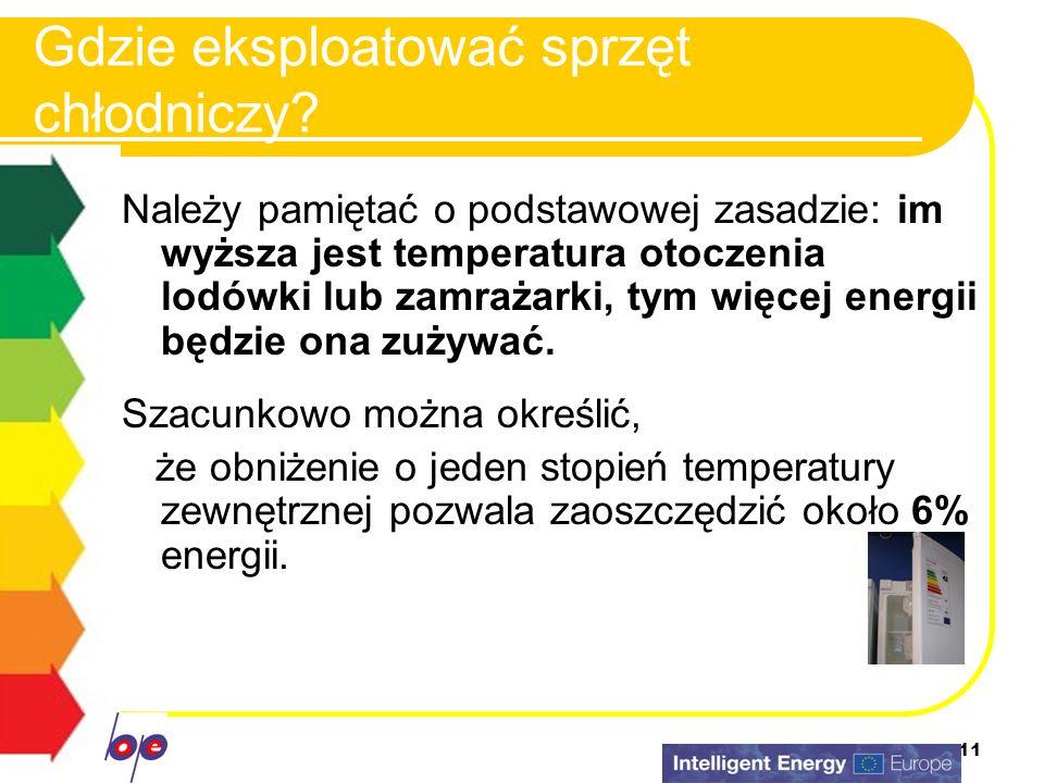 11 Gdzie eksploatować sprzęt chłodniczy? Należy pamiętać o podstawowej zasadzie: im wyższa jest temperatura otoczenia lodówki lub zamrażarki, tym więc