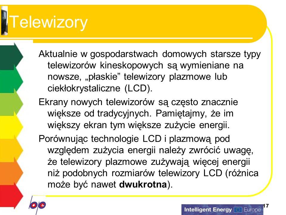 17 Telewizory Aktualnie w gospodarstwach domowych starsze typy telewizorów kineskopowych są wymieniane na nowsze, płaskie telewizory plazmowe lub ciek
