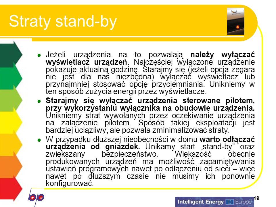 19 Straty stand-by Jeżeli urządzenia na to pozwalają należy wyłączać wyświetlacz urządzeń. Najczęściej wyłączone urządzenie pokazuje aktualną godzinę.