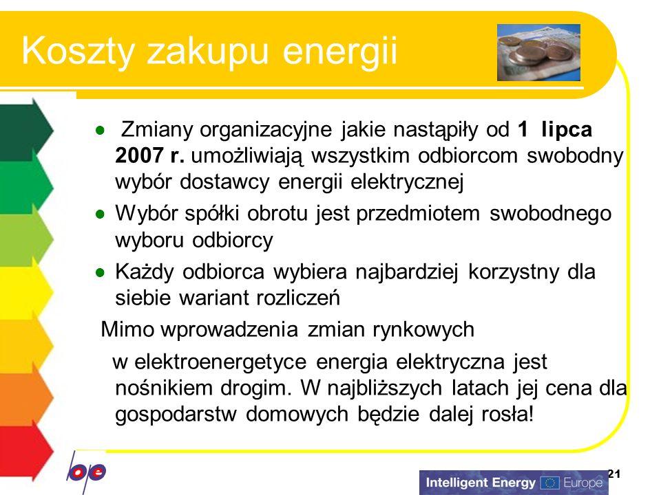 21 Koszty zakupu energii Zmiany organizacyjne jakie nastąpiły od 1 lipca 2007 r. umożliwiają wszystkim odbiorcom swobodny wybór dostawcy energii elekt