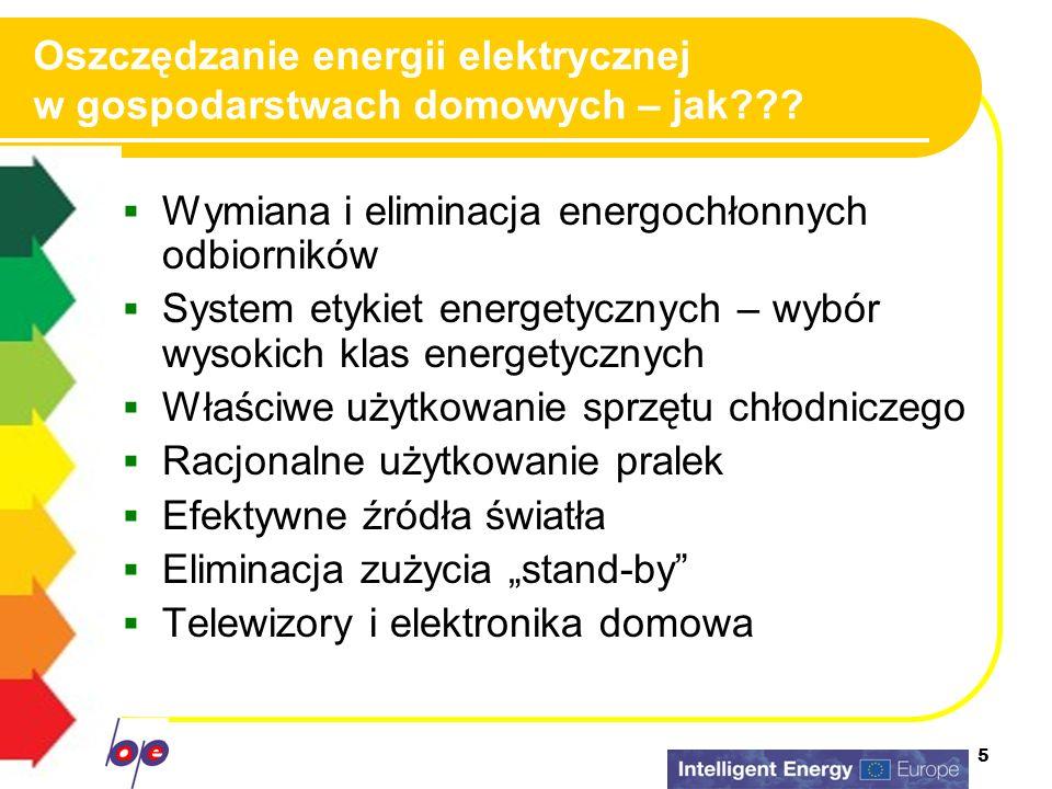 5 Oszczędzanie energii elektrycznej w gospodarstwach domowych – jak??? Wymiana i eliminacja energochłonnych odbiorników System etykiet energetycznych