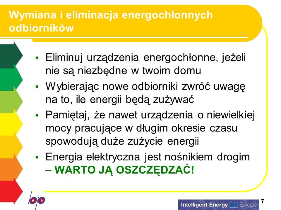 7 Wymiana i eliminacja energochłonnych odbiorników Eliminuj urządzenia energochłonne, jeżeli nie są niezbędne w twoim domu Wybierając nowe odbiorniki