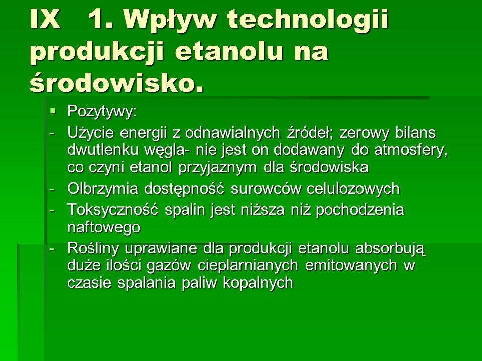 IX 1. Wpływ technologii produkcji etanolu na środowisko. Pozytywy: Pozytywy: -Użycie energii z odnawialnych źródeł; zerowy bilans dwutlenku węgla- nie