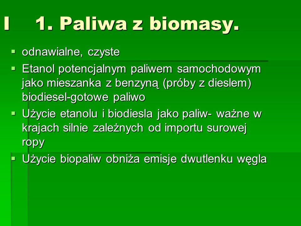 I 1. Paliwa z biomasy. odnawialne, czyste odnawialne, czyste Etanol potencjalnym paliwem samochodowym jako mieszanka z benzyną (próby z dieslem) biodi