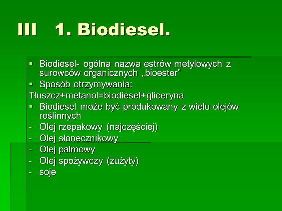 III 1. Biodiesel. Biodiesel- ogólna nazwa estrów metylowych z surowców organicznych bioester Biodiesel- ogólna nazwa estrów metylowych z surowców orga
