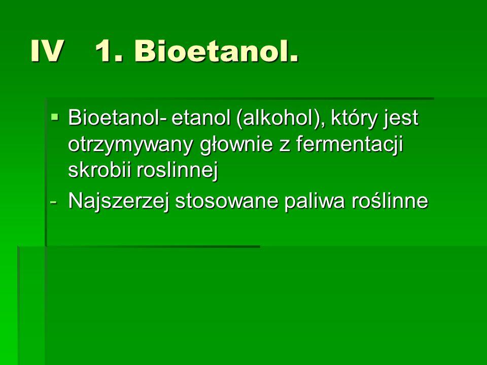 IV 1. Bioetanol. Bioetanol- etanol (alkohol), który jest otrzymywany głownie z fermentacji skrobii roslinnej Bioetanol- etanol (alkohol), który jest o