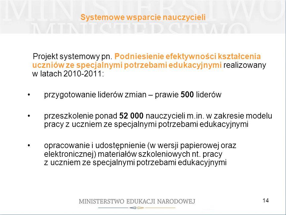 14 Projekt systemowy pn. Podniesienie efektywności kształcenia uczniów ze specjalnymi potrzebami edukacyjnymi realizowany w latach 2010-2011: przygoto