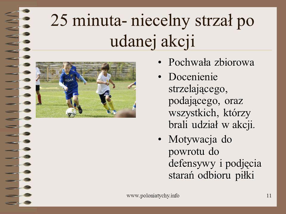 www.poloniatychy.info11 25 minuta- niecelny strzał po udanej akcji Pochwała zbiorowaPochwała zbiorowa Docenienie strzelającego, podającego, oraz wszys