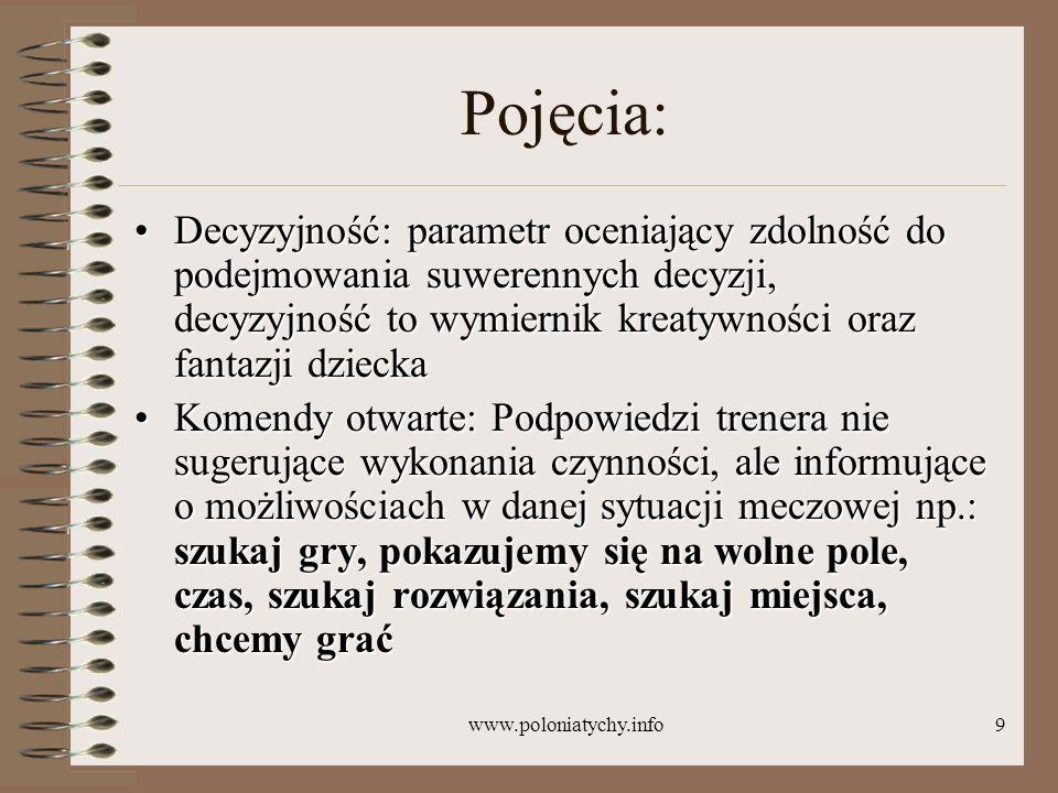 www.poloniatychy.info9 Pojęcia: Decyzyjność: parametr oceniający zdolność do podejmowania suwerennych decyzji, decyzyjność to wymiernik kreatywności o