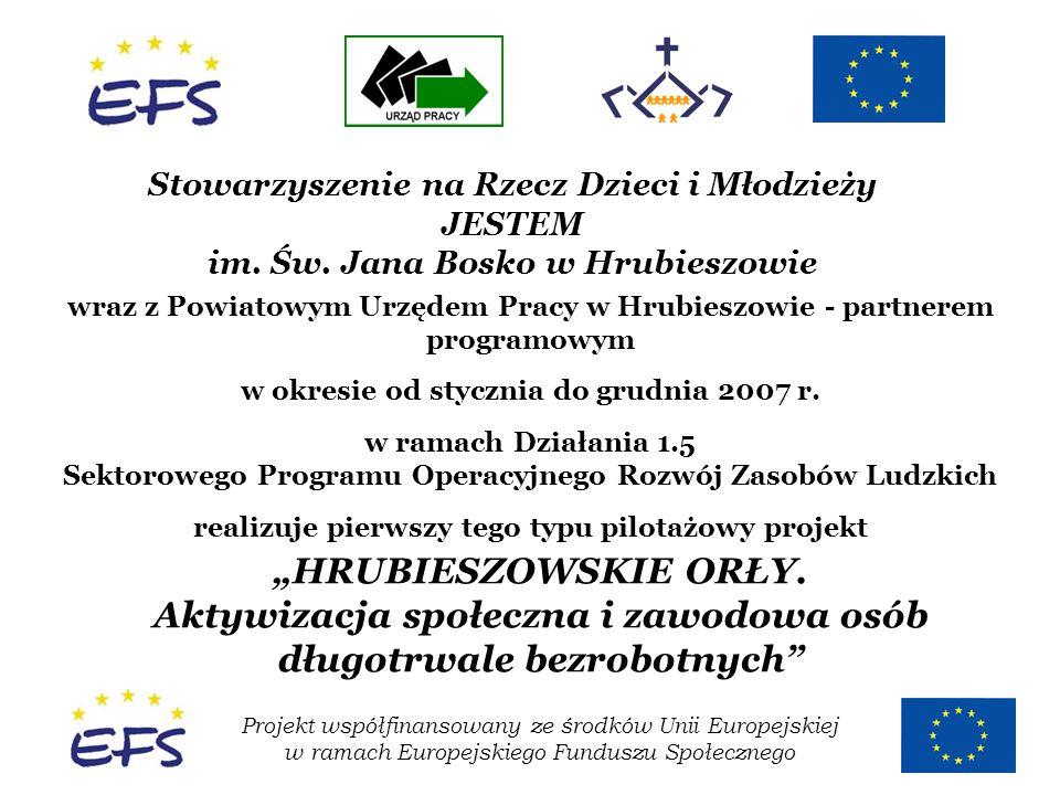 Projekt współfinansowany ze środków Unii Europejskiej w ramach Europejskiego Funduszu Społecznego Stowarzyszenie na Rzecz Dzieci i Młodzieży JESTEM im