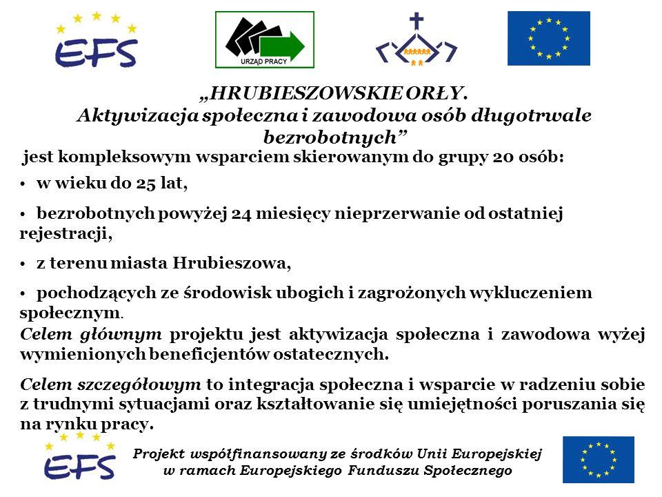Projekt współfinansowany ze środków Unii Europejskiej w ramach Europejskiego Funduszu Społecznego HRUBIESZOWSKIE ORŁY. Aktywizacja społeczna i zawodow