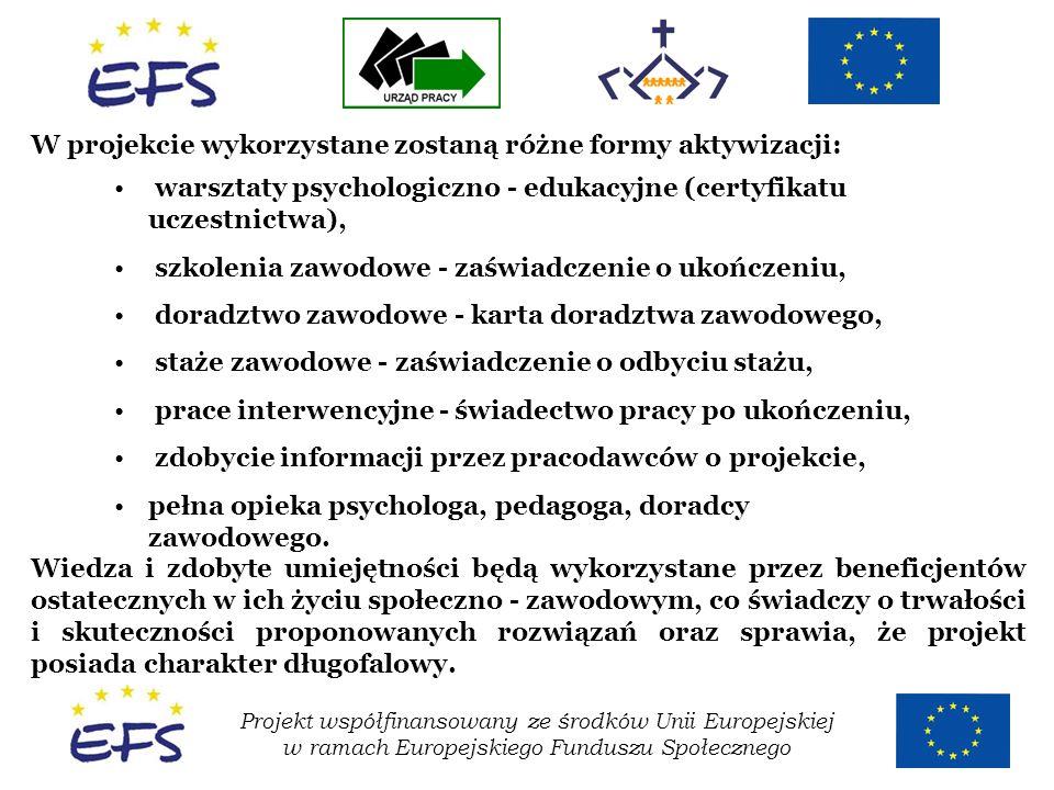 Projekt współfinansowany ze środków Unii Europejskiej w ramach Europejskiego Funduszu Społecznego W projekcie wykorzystane zostaną różne formy aktywiz