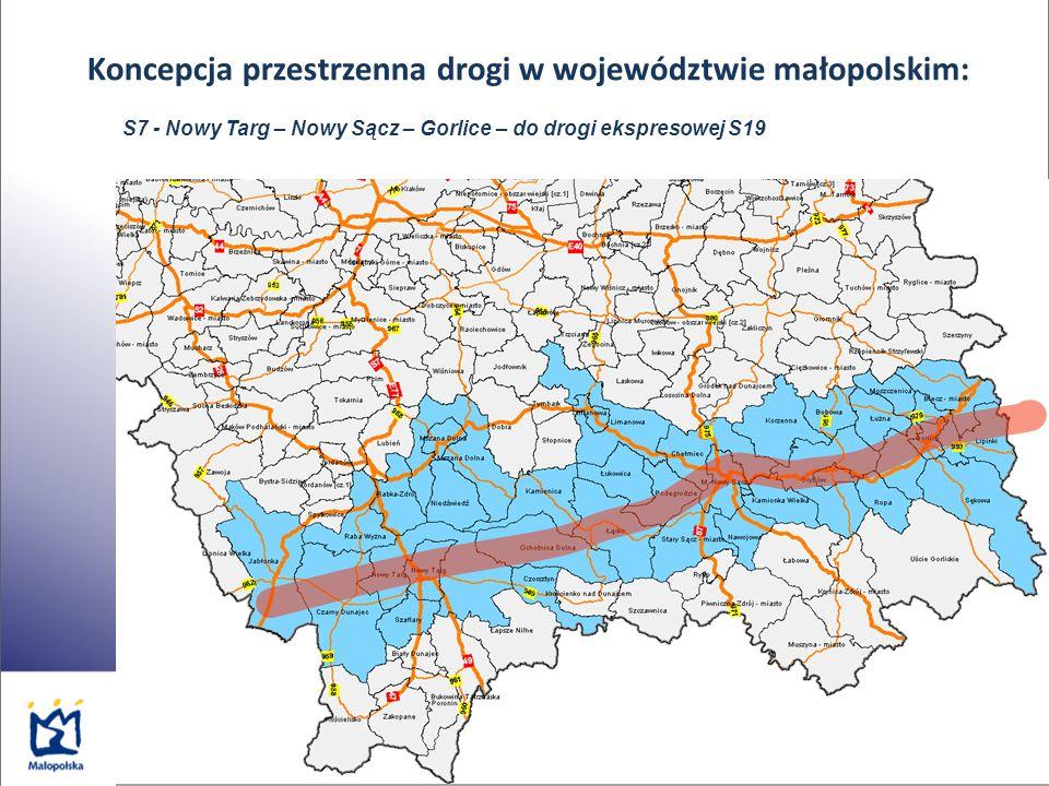 Koncepcja przestrzenna drogi w województwie małopolskim: S7 - Nowy Targ – Nowy Sącz – Gorlice – do drogi ekspresowej S19