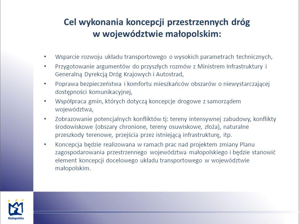 Cel wykonania koncepcji przestrzennych dróg w województwie małopolskim: Wsparcie rozwoju układu transportowego o wysokich parametrach technicznych, Pr
