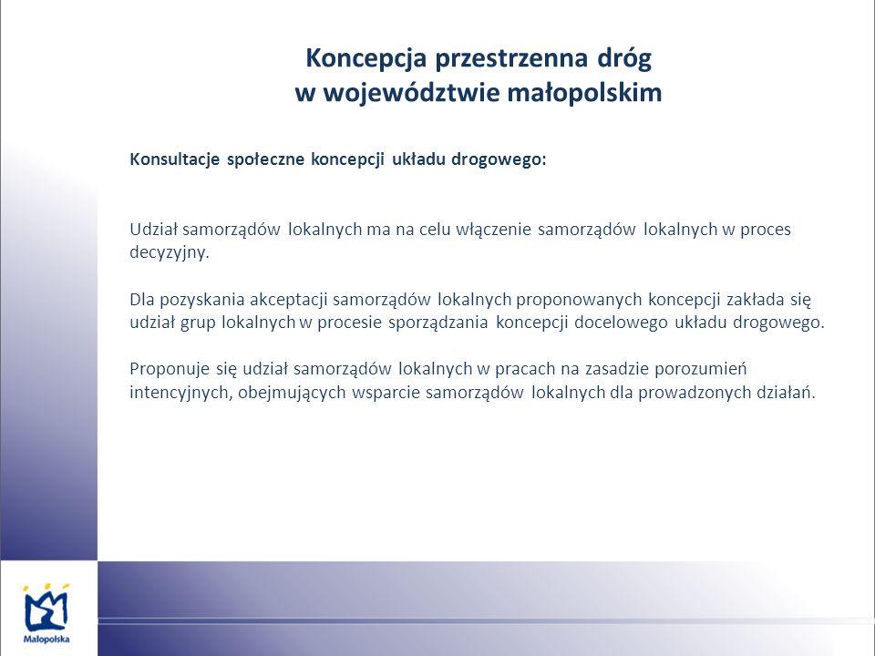 Koncepcja przestrzenna dróg w województwie małopolskim Konsultacje społeczne koncepcji układu drogowego: Udział samorządów lokalnych ma na celu włącze