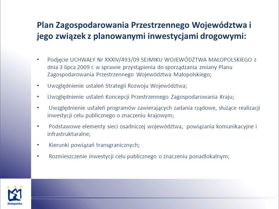 Plan Zagospodarowania Przestrzennego Województwa i jego związek z planowanymi inwestycjami drogowymi: Podjęcie UCHWAŁY Nr XXXIV/493/09 SEJMIKU WOJEWÓD