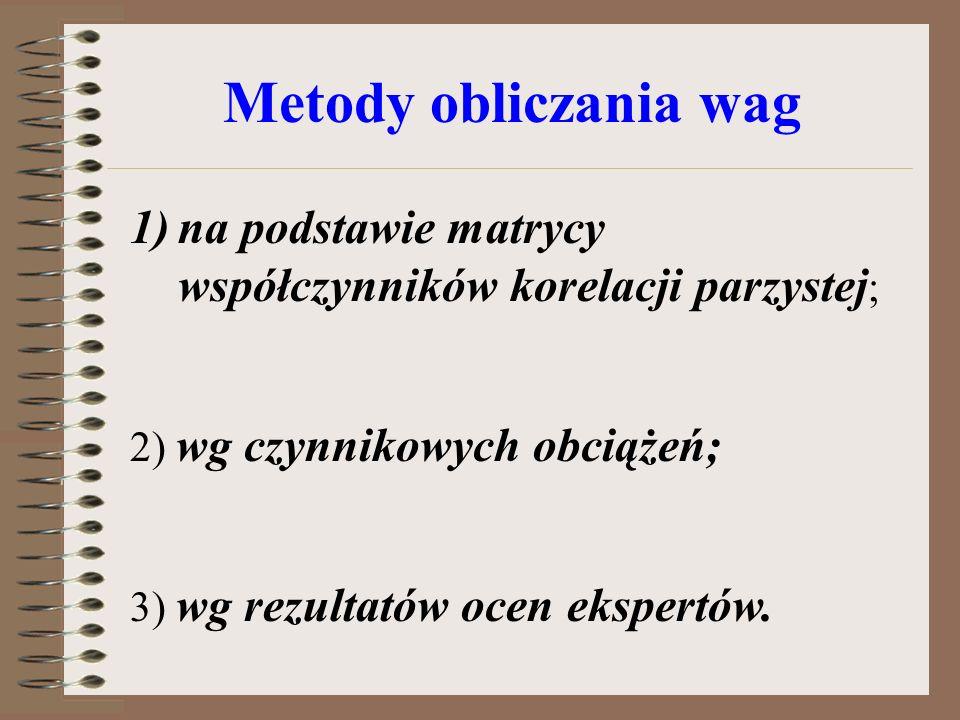 Metody obliczania wag 1)na podstawie matrycy współczynników korelacji parzystej ; 2) wg czynnikowych obciążeń; 3) wg rezultatów ocen ekspertów.