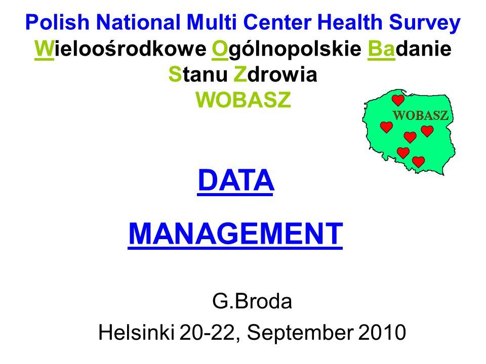 Polish National Multi Center Health Survey Wieloośrodkowe Ogólnopolskie Badanie Stanu Zdrowia WOBASZ G.Broda Helsinki 20-22, September 2010 DATA MANAG