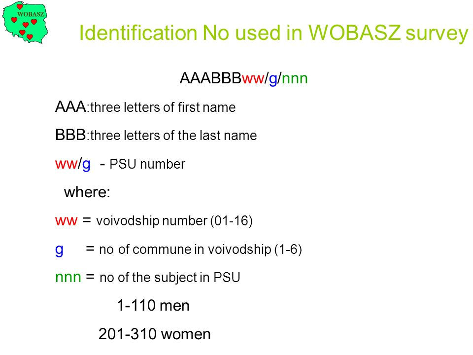 AAABBBww/g/nnn AAA :three letters of first name BBB :three letters of the last name ww/g - PSU number where: ww = voivodship number (01-16) g = no of
