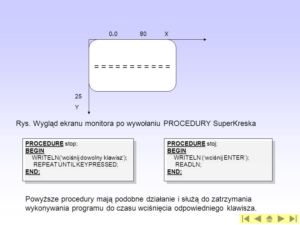 PROCEDURE stop; BEGIN WRITELN(wciśnij dowolny klawisz); REPEAT UNTIL KEYPRESSED; END; PROCEDURE stop; BEGIN WRITELN(wciśnij dowolny klawisz); REPEAT U