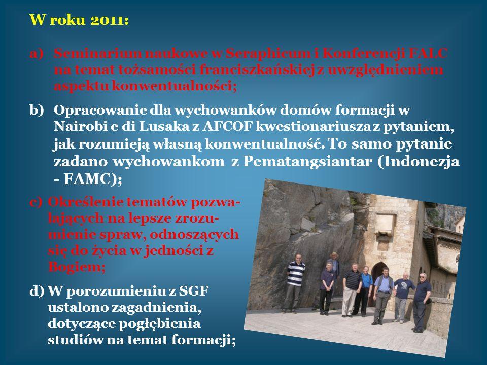 W roku 2011: a)Seminarium naukowe w Seraphicum i Konferencji FALC na temat tożsamości franciszkańskiej z uwzględnieniem aspektu konwentualności; b)Opr