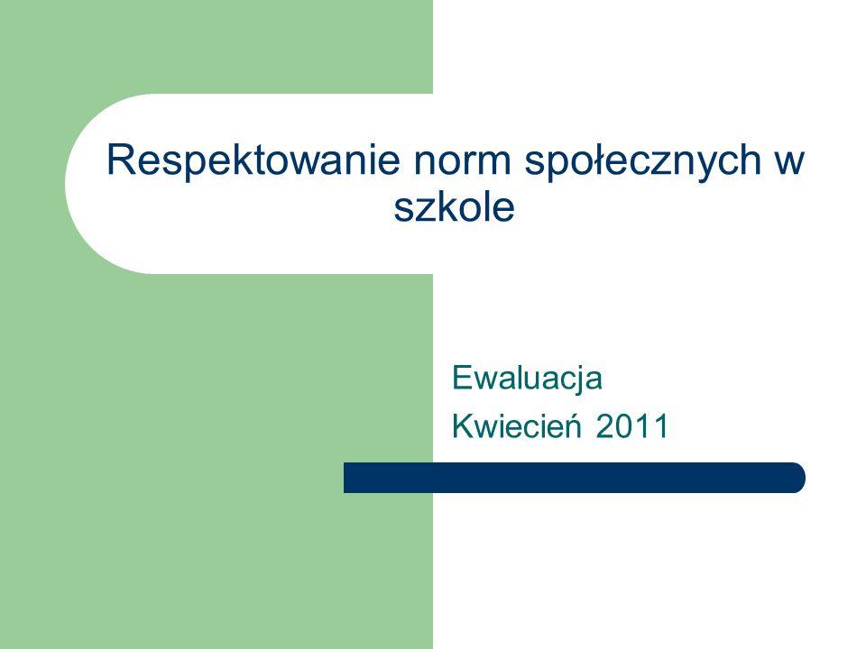 Respektowanie norm społecznych w szkole Ewaluacja Kwiecień 2011