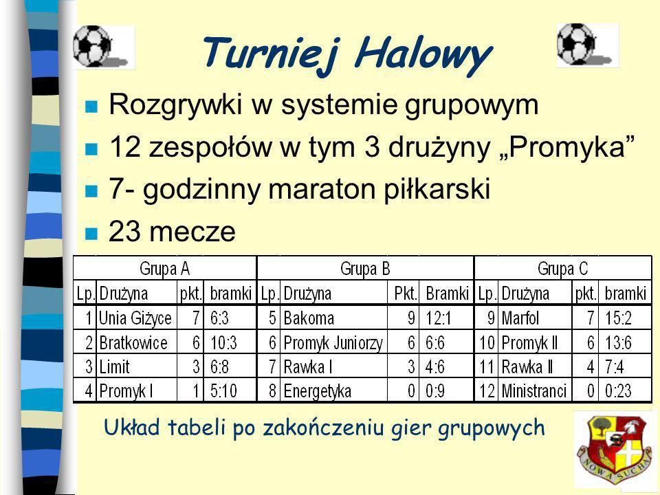 n Rozgrywki w systemie grupowym n 12 zespołów w tym 3 drużyny Promyka n 7- godzinny maraton piłkarski n 23 mecze Turniej Halowy Układ tabeli po zakończeniu gier grupowych