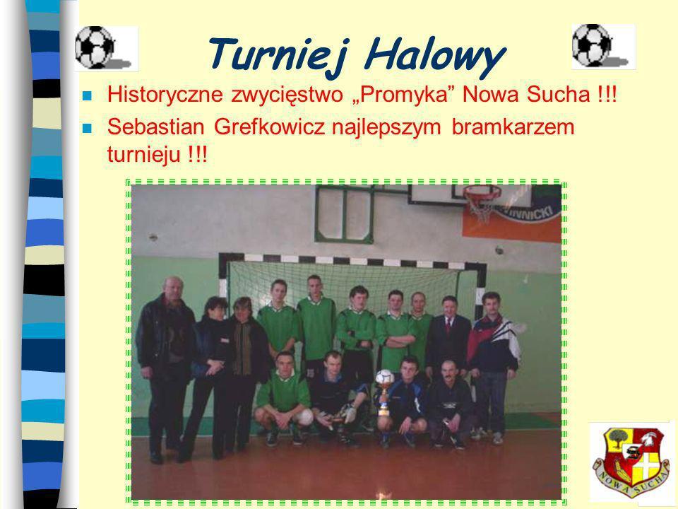 n Rozgrywki w systemie grupowym n 12 zespołów w tym 3 drużyny Promyka n 7- godzinny maraton piłkarski n 23 mecze Turniej Halowy Układ tabeli po zakońc