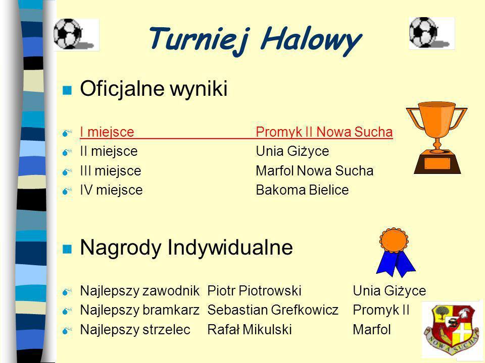 Turniej Halowy n Historyczne zwycięstwo Promyka Nowa Sucha !!! n Sebastian Grefkowicz najlepszym bramkarzem turnieju !!!