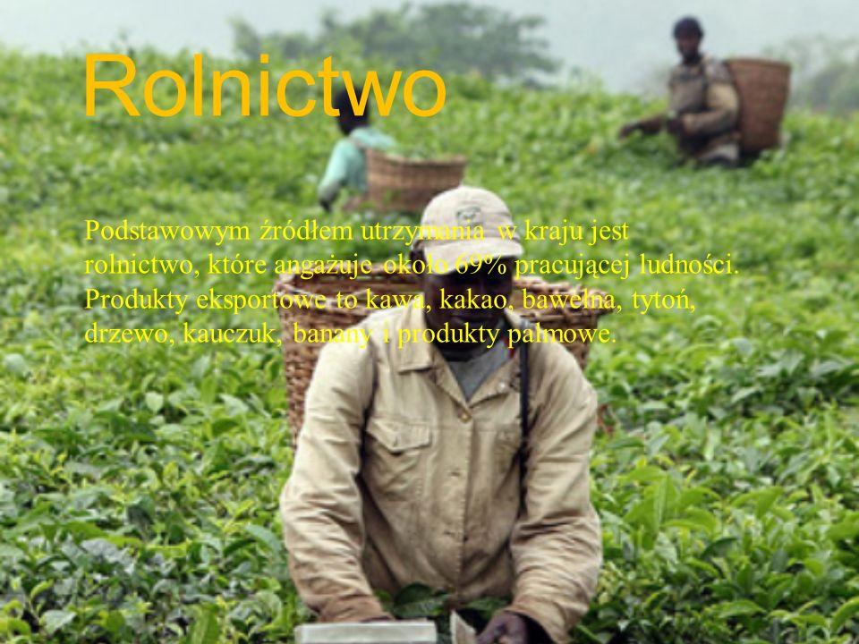 Rolnictwo Podstawowym źródłem utrzymania w kraju jest rolnictwo, które angażuje około 69% pracującej ludności. Produkty eksportowe to kawa, kakao, baw