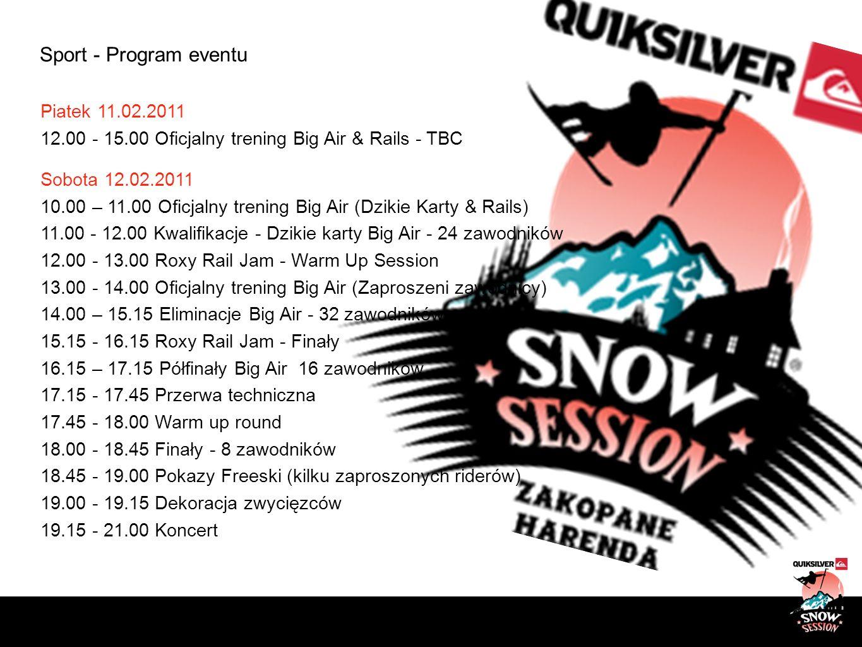 Sport - Program eventu Piatek 11.02.2011 12.00 - 15.00 Oficjalny trening Big Air & Rails - TBC Sobota 12.02.2011 10.00 – 11.00 Oficjalny trening Big A