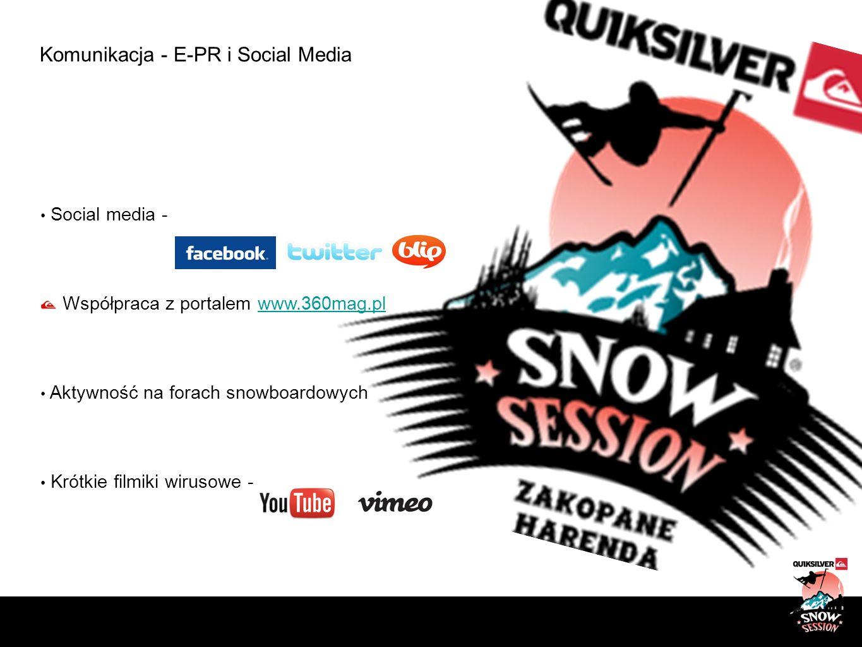 Komunikacja - E-PR i Social Media Social media - Współpraca z portalem www.360mag.plwww.360mag.pl Aktywność na forach snowboardowych Krótkie filmiki w