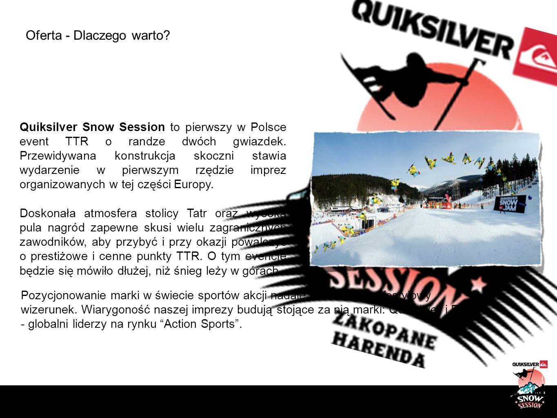 Oferta - Dlaczego warto? Quiksilver Snow Session to pierwszy w Polsce event TTR o randze dwóch gwiazdek. Przewidywana konstrukcja skoczni stawia wydar