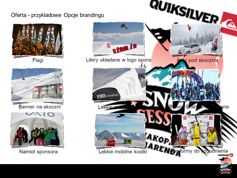 Oferta - przykladowe Opcje brandingu Litery układane w logo sponsora Flagi Banner na skoczni Lekkie mobilne płotki Namiot sponsoraLekkie mobilne kostk