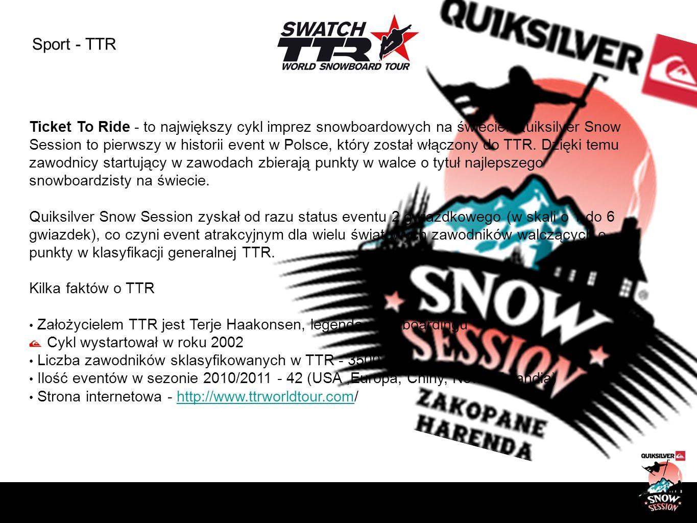 Sport - TTR Ticket To Ride - to największy cykl imprez snowboardowych na świecie. Quiksilver Snow Session to pierwszy w historii event w Polsce, który