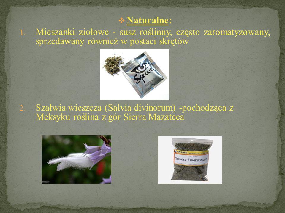 3.Fly agaric – muchomor czerwony lub plamisty 4. Kratom – liście drzewa Mitragyna speciosa 5.