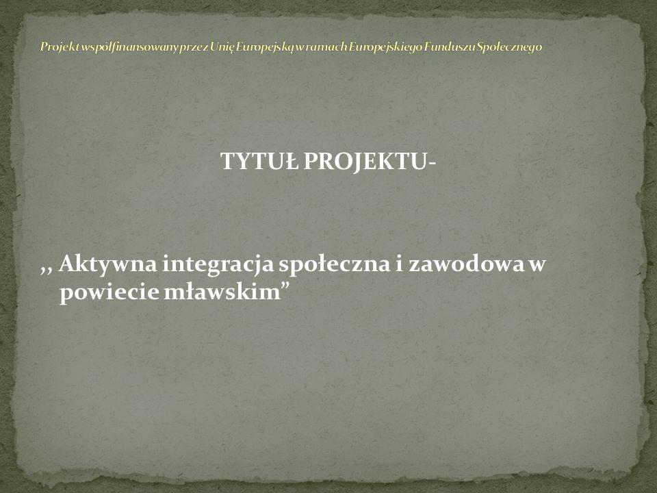 Priorytet VII-Promocja integracji społecznej. Działanie 7.1 Rozwój i upowszechnienie aktywnej integracji. Poddziałanie – 7.1.2 Rozwój i upowszechniani