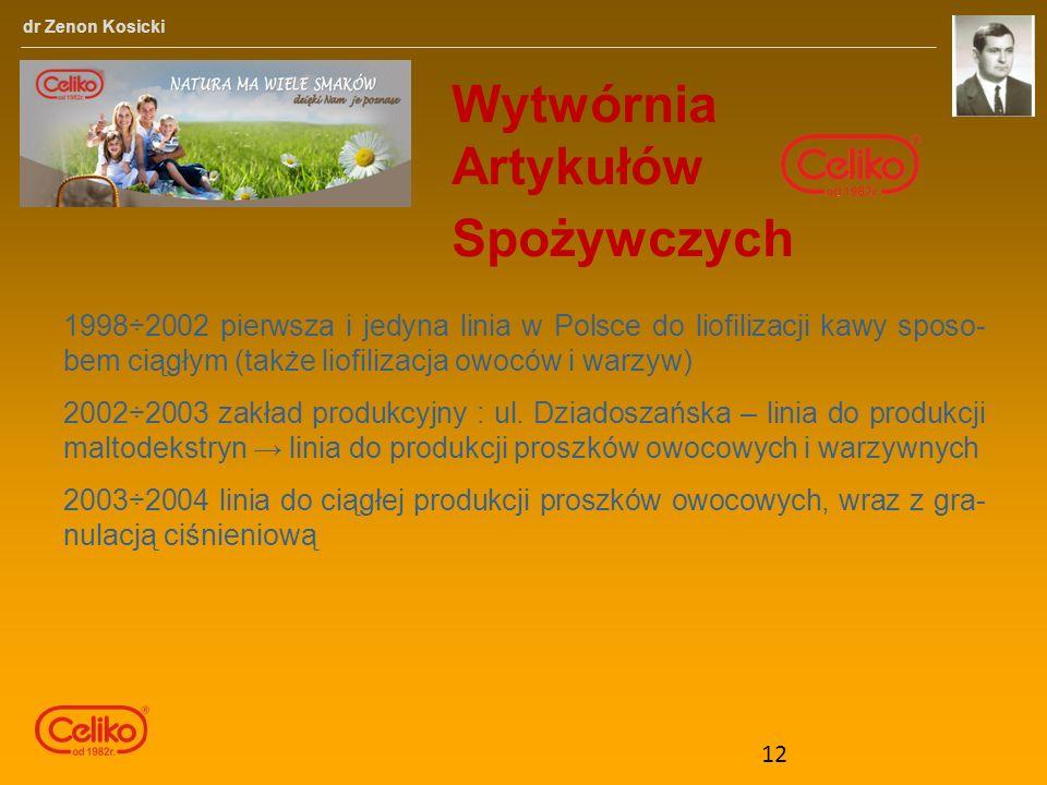 Wytwórnia Artykułów Spożywczych dr Zenon Kosicki 1998÷2002 pierwsza i jedyna linia w Polsce do liofilizacji kawy sposo- bem ciągłym (także liofilizacja owoców i warzyw) 2002÷2003 zakład produkcyjny : ul.