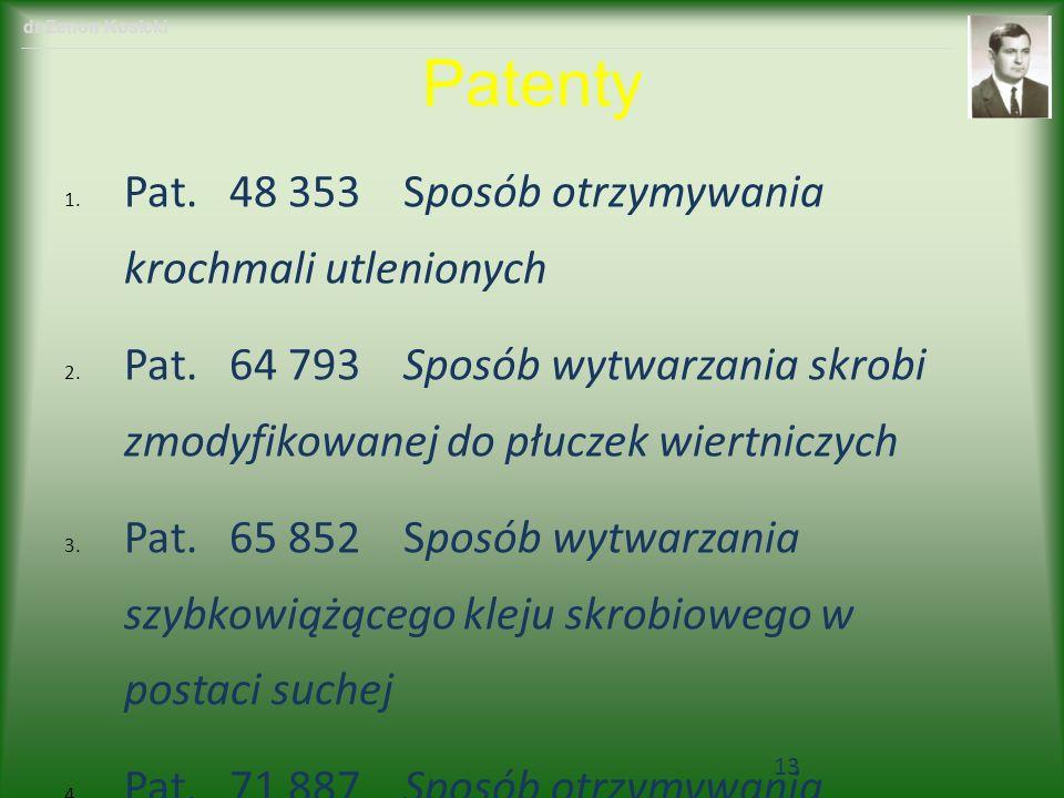 Patenty 1. Pat. 48 353 Sposób otrzymywania krochmali utlenionych 2. Pat. 64 793 Sposób wytwarzania skrobi zmodyfikowanej do płuczek wiertniczych 3. Pa
