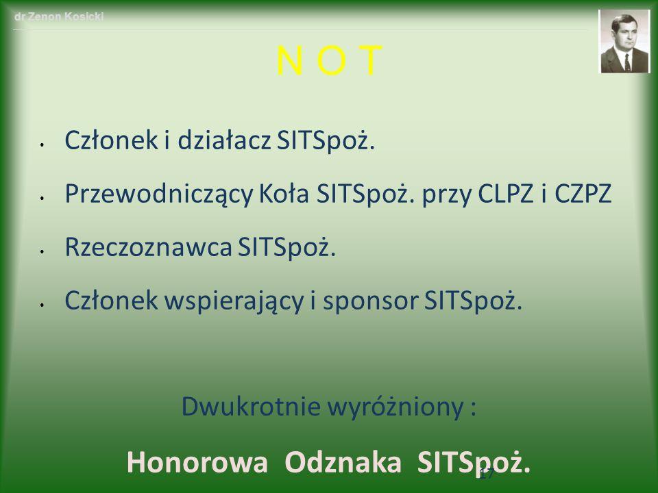 Członek i działacz SITSpoż. Przewodniczący Koła SITSpoż. przy CLPZ i CZPZ Rzeczoznawca SITSpoż. Członek wspierający i sponsor SITSpoż. Dwukrotnie wyró