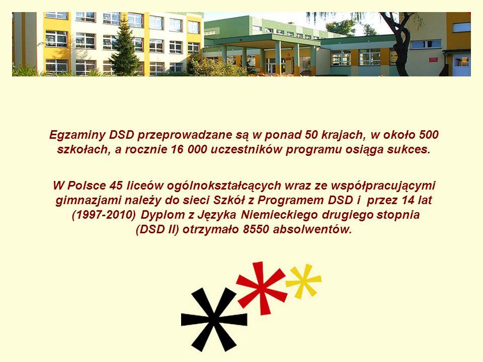 Egzaminy DSD przeprowadzane są w ponad 50 krajach, w około 500 szkołach, a rocznie 16 000 uczestników programu osiąga sukces. W Polsce 45 liceów ogóln
