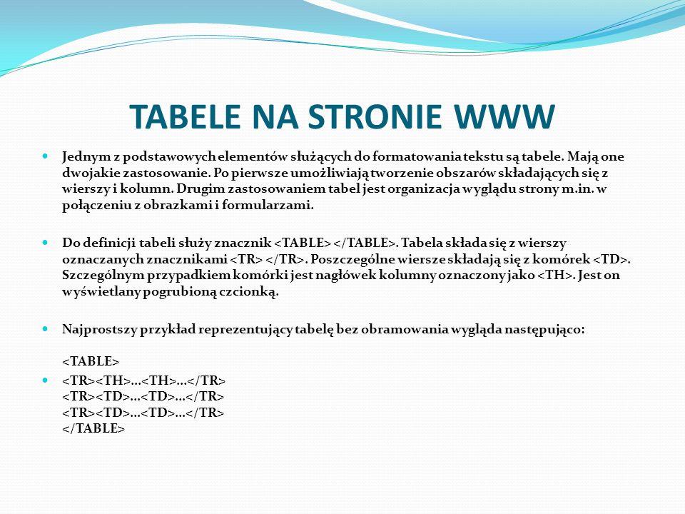 TABELE NA STRONIE WWW Jednym z podstawowych elementów służących do formatowania tekstu są tabele. Mają one dwojakie zastosowanie. Po pierwsze umożliwi