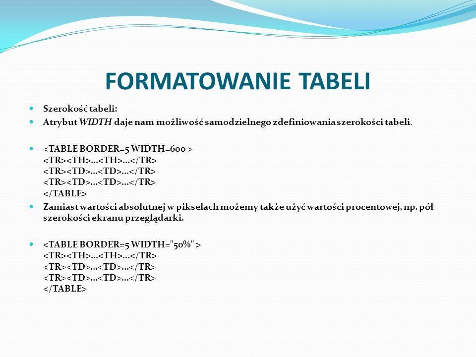 FORMATOWANIE TABELI Szerokość tabeli: Atrybut WIDTH daje nam możliwość samodzielnego zdefiniowania szerokości tabeli................... Zamiast wartoś