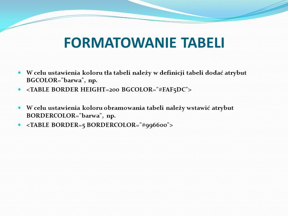 FORMATOWANIE TABELI W celu ustawienia koloru tła tabeli należy w definicji tabeli dodać atrybut BGCOLOR=