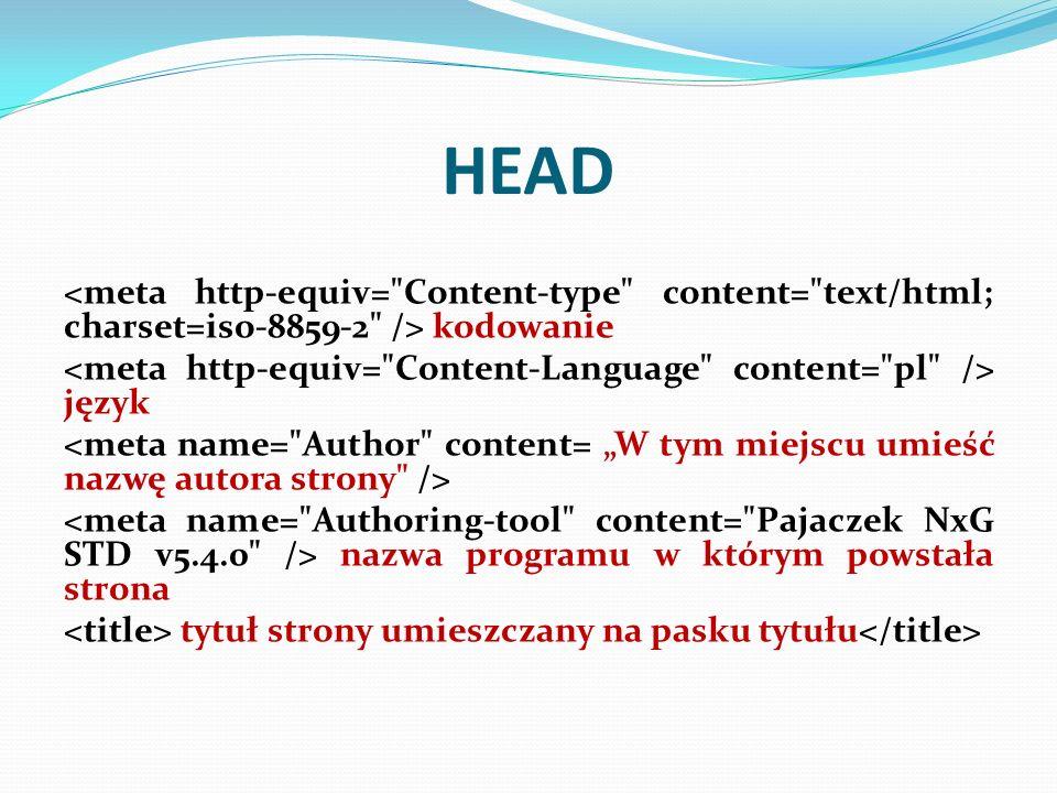 HEAD kodowanie język nazwa programu w którym powstała strona tytuł strony umieszczany na pasku tytułu