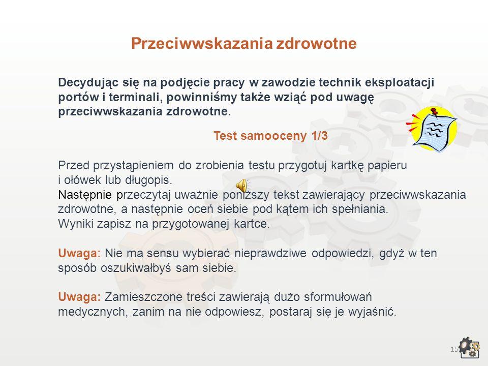 16 Przeciwwskazania zdrowotne - test samooceny 2/3 Lp.